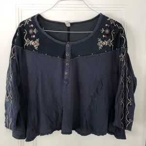 Free People Embroidered Long Sleeve Button Down